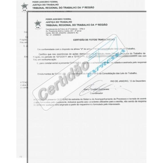Certidão da Justiça Trabalhista da 1ª  Instância do RJ